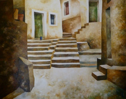 Piazzale - Square - oil on canvas - cm 120x150
