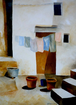 Panni stesi - Clothes hung out to dry - oil on canvas - cm 30x40