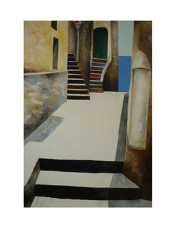Piazza metafisica - Metaphysilcal square - oil on canvas - cm 70x100