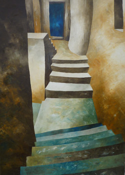 Scale e porta blu - Stairs and Blue door - oil on canvas - cm 50x70