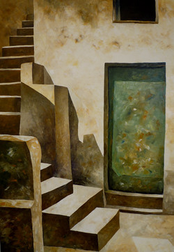 Scale e portone verde 1 - Stairs and green door 1 - Oil on canvas - cm 70x100