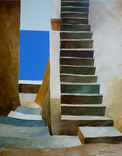Scale e mare 3 - Stairs and sea 3 - oil on canvas - cm 24x30
