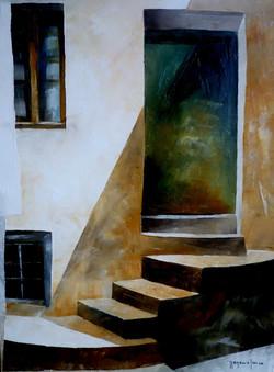 Ingresso verde - Green entrance - oil on canvas - cm 30x40