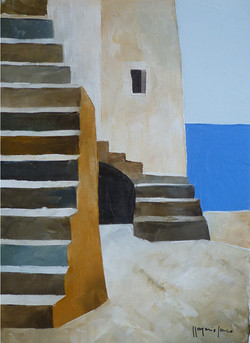 Scale e mare 5 - Stairs and sea 5 - oil on canvas - cm 18x24