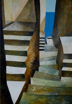Discesa verso il mare 2 - Down to the sea 2 - Oil on canvas - cm 70x100