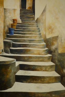 Scala e tre vasi - Stair and three pots - Oil on canvas - cm 70x100