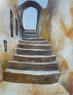 Salendo verso l'arco - Up to the arch - oil on canvas - cm 24x30