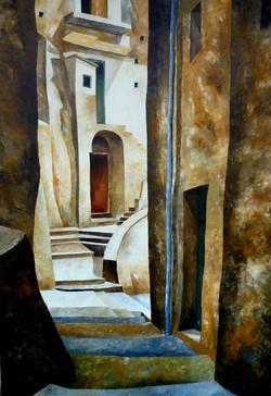 Vie di Positano - Positano streets - oil on canvas - cm 70x100