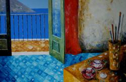 Interno con tazzina di caffè - Indoor with coffee cup - Oil in canvas - cm 80x120