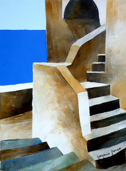 Scale e mare 4 - Stairs and sea 4 - oil on canvas - cm 24x18