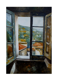 Aritzo visto dalla finestra - Aritzo seen from within - oil on canvas - cm 50x70