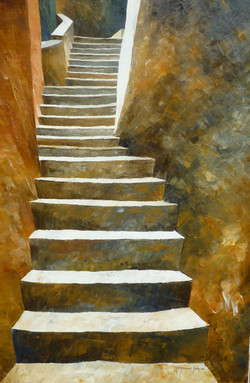 Su per le scale 3 - Up to the stairs 3 - oil on canvas - cm 60x40