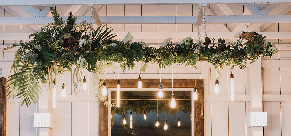 Hanging Mixed Greenery Floral Installation by Idyllwild Event Design at The Catskill Mountain House