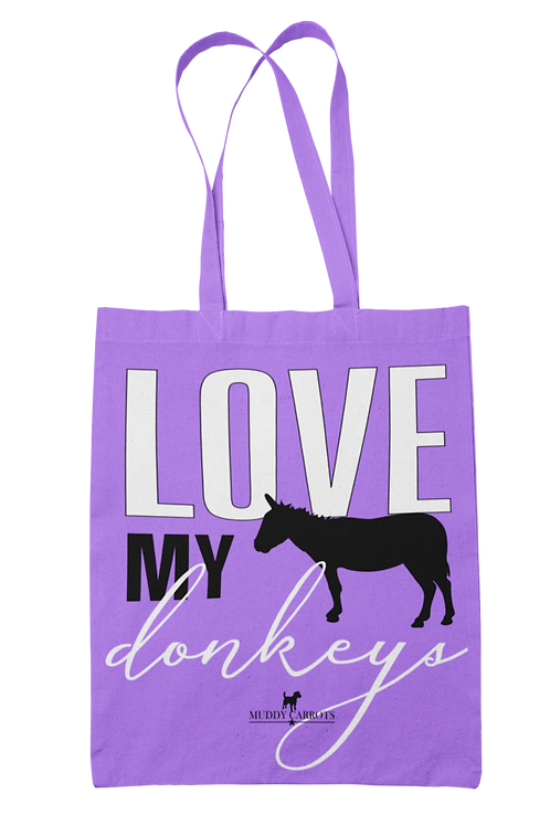 Love My Donkeys 100% Cotton Canvas Tote Bag