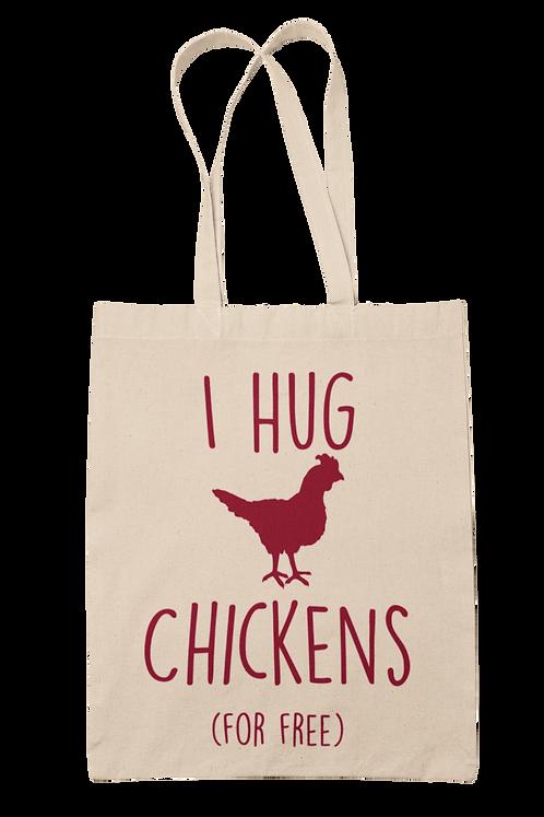 I Hug Chickens 100% Cotton Canvas Tote Bag