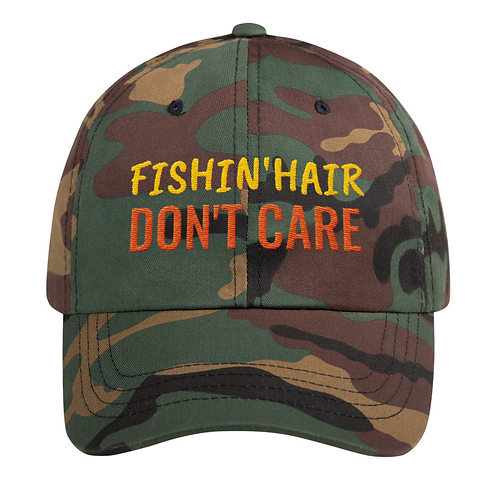Classic Cotton Embroidered Hat (Fishin' Hair Don't Care)