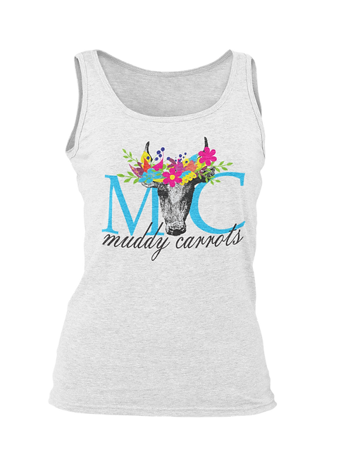 Muddy Carrots Cow Floral Tank