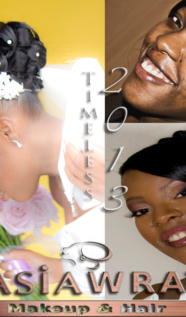 Camouflage Bridal Makeup & Curled bun updo 2013