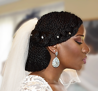 Natural Bridal Updo, protective styling with Bridal Makeup on Black Skin London.