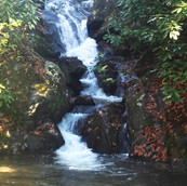 Land with waterfall