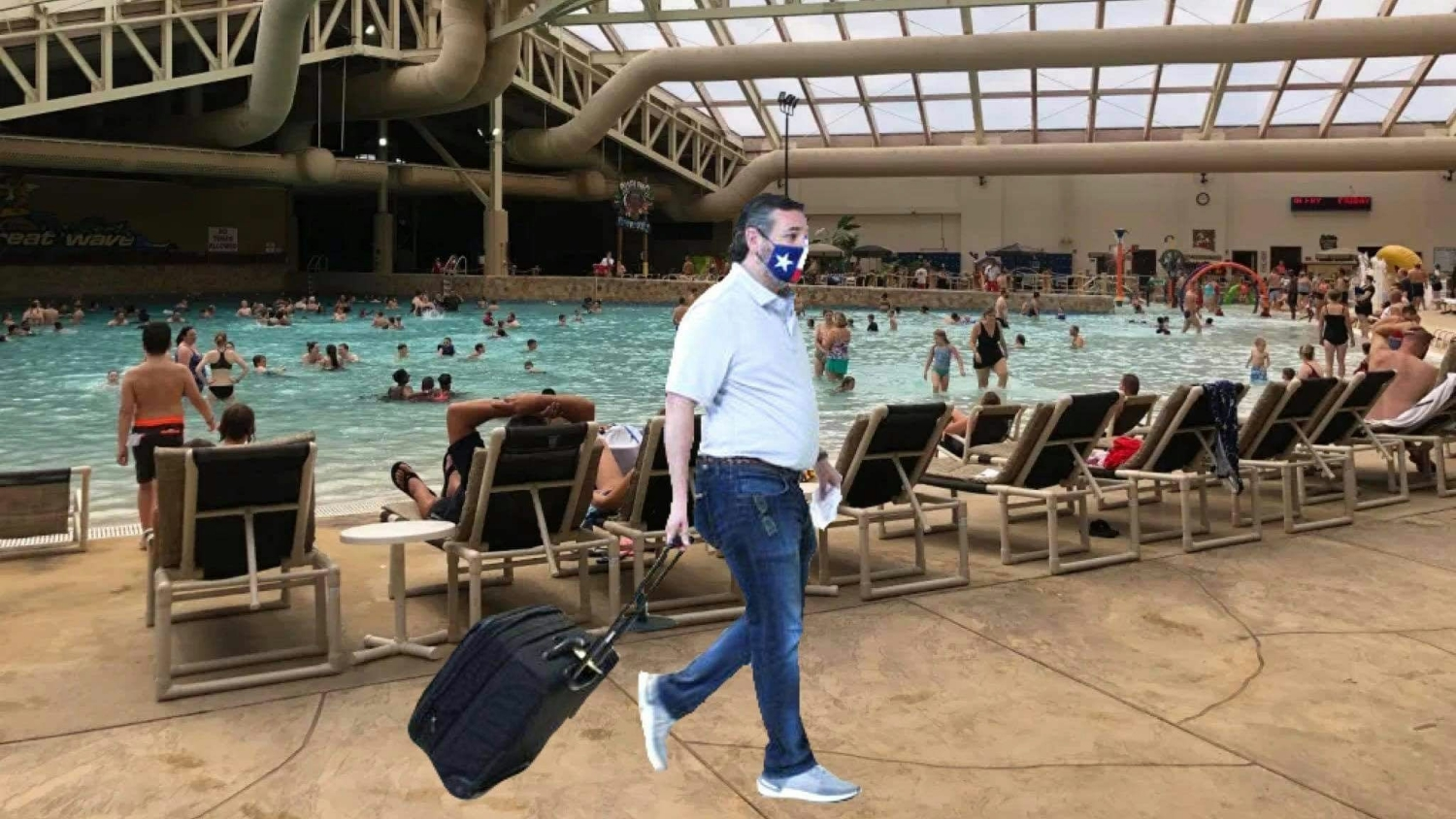 Ted Cruz hides away at Americas greatest water park