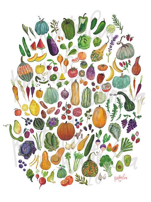 Fruits & Vegetables 11x14