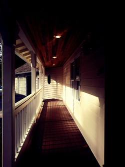 Front porch with late afternoon sun
