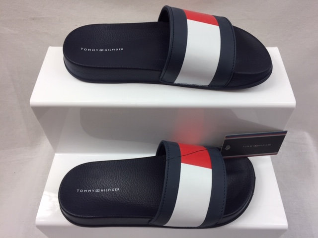Tommy Hilfiger Flag Pool Slides Navy White Red Uk 3.5