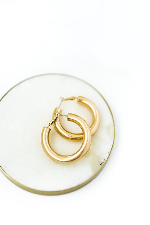 Small Brushed Gold Hoops