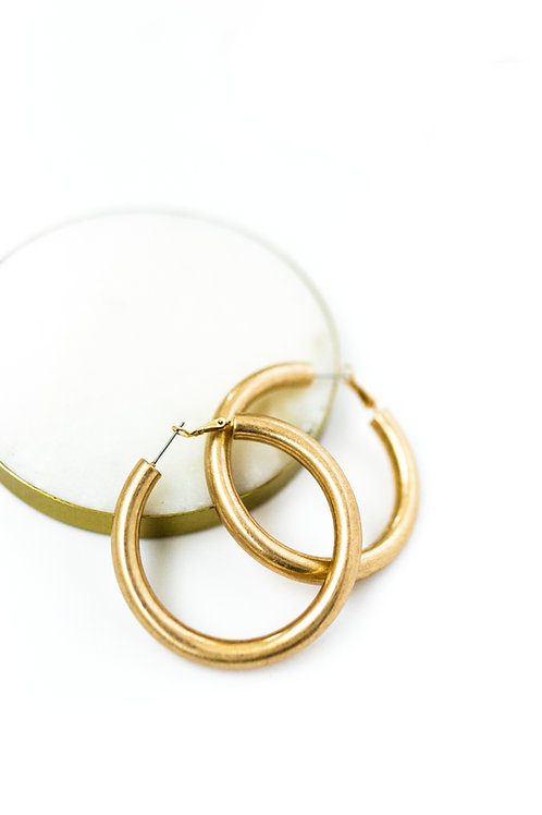 Large Brushed Gold Hoops