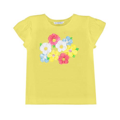 Tee shirt Jaune à fleurs