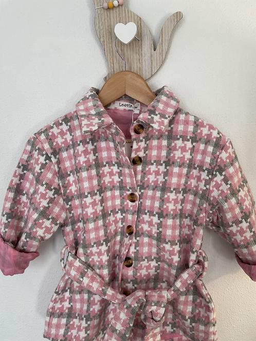 Sur chemise carreaux rose