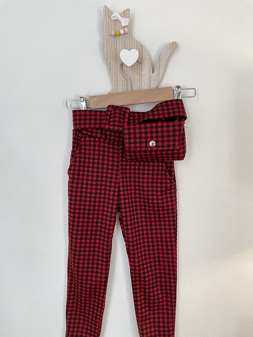 Pantalon rouge à carreaux