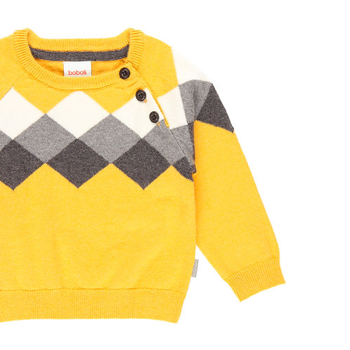 Pull jacquard jaune