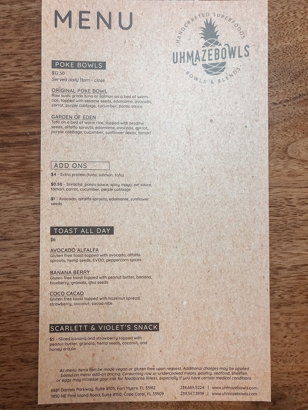 UHMAZEBOWLS menu back with poke bowls, avocado toast, and snacks in Fort Myers & Cape Coral