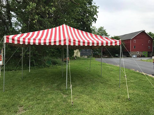 15x15 Red/White Pole Tent (Day Rental)