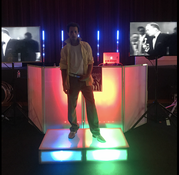 stevie with large setup 8th grade dance.