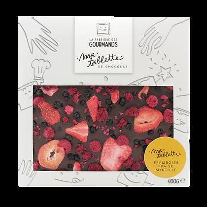 Tablette chocolat noir - Fruits rouges 200g