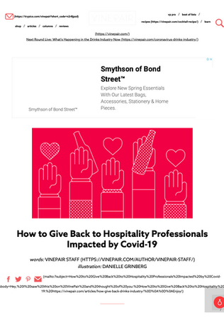 How to Give Back to Hospitality Professionals Impacted by Covid-19 _ VinePair