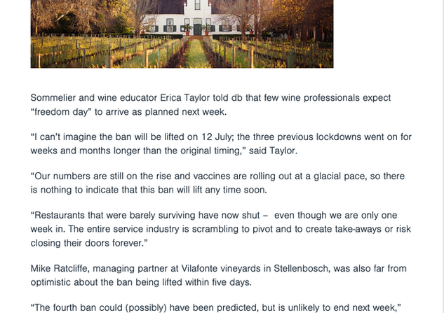 """South African wineries fear """"inevitable"""" extension of fourth alcohol ban"""