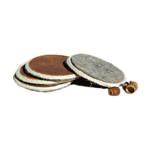 Reclaimed Leather Coasters - Set of 4