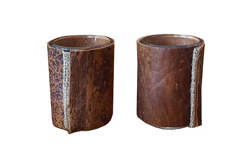 Pair of Reclaimed Leather Votives