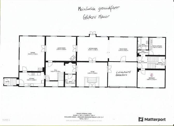 Værelses oversigt stueetagen hovedhuset