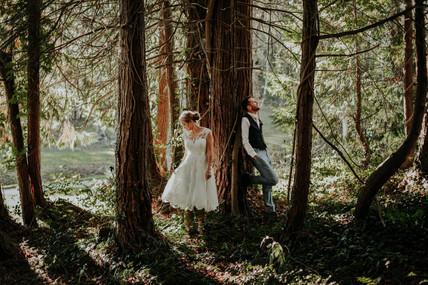 Happy couple in woods