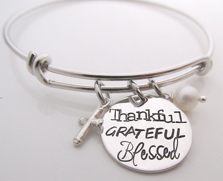 Thankful Grateful Blessed Bracelet