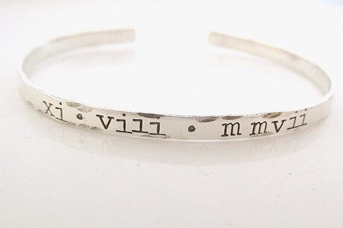 Roman Numeral Bracelet - skinny cuff