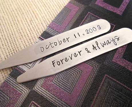 Stainless Steel Collar Stays - Forever and Always