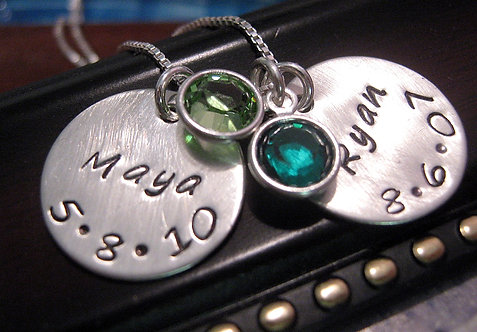 Birth - Mother's Birthstone Necklace for Two