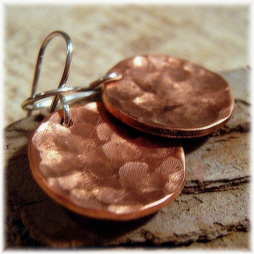 Hammered Copper Earrings - Coins