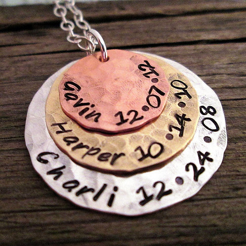 personalized necklace- Extra Large Birth Necklace
